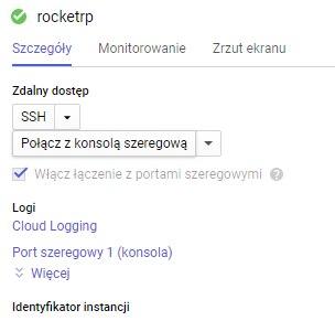"""Może być zdjęciem przedstawiającym tekst """"rocketrp Szczegóły Monitorowanie Zrzut ekranu Zdalny dostęp SSH Połącz z konsolą szeregową Włącz łączenie z portami szeregowymi Logi Cloud Logging Port szeregowy 1 (konsola) Więcej Identyfikator instancji"""""""